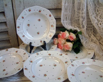 Set of 6 French vintage ironstone soup plates with roses and gold trim. French country. French shabby chic plates. Cottage decor. Roses