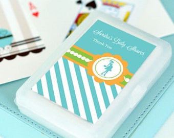Baby Shower Playing Crad Favors, Deck of Cards, Personalized Baby Shower Favors, About to Pop Baby Shower Favors, Personalized Playing Cards