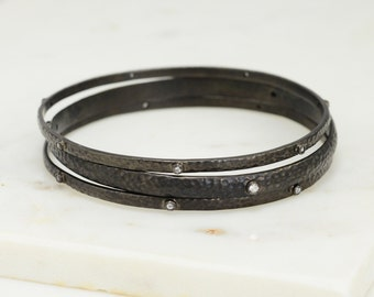 White Topaz Bangle Bracelet - Black Rhodium Bangle - Minimalist Bangle Bracelet - Stackable Bangle - Gold Bangles - Stacking Bangles