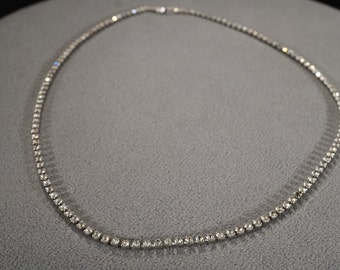 Vintage Art Deco Style Silver Tone Rhinestone Faceted Necklace Jewerly -K#4