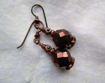 Pretty Spectacular Southwestern Fire Polished Czech Glass Earrings Sparkly Round Bronze Faceted Earrings Hypoallergenic Niobium French Hooks