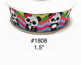 "3 or 5 yard - 1.5"" Cute Panda with Pink Bow eating Bamboo on Multi Color Wave Grosgrain Ribbon Hair bow"