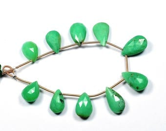 7 Inch Strand-10x14-11x17mm-Natural Chrysoprase Faceted Pear Shape Briolette Beads Strand 10 Beads(2881-82)