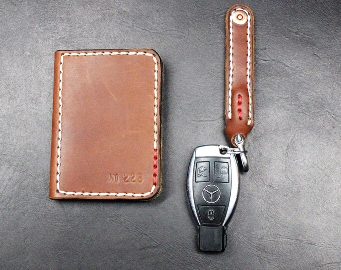 Card wallet and keychain hand made leather accessories GIFT set