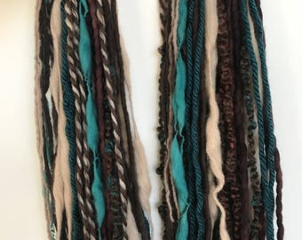 Tan Brown Teal Turquoise Pair of Dread Falls