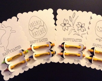 Easter Coloring Cards with Crayons