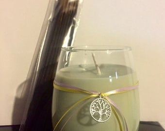 Ostara/Spring Equinox 15 oz Soy Candle with pack of 25 incense