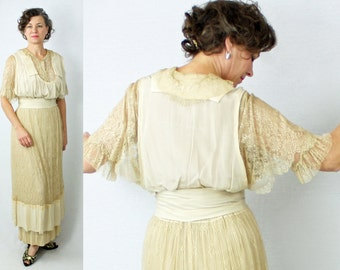 1910s Dress / Edwardian Dress / WEARABLE / Antique Dress / Titanic Dress / Tea Dress / Bridal Dress / Victorian Dress / 1900s Dress / W26""