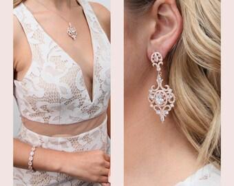 rose gold Crystal Bridal Earrings,Wedding earrings,Long Bridal earrings,Bridesmaids, Swarovski,Wedding Jewelry, Long Crystal Stud Earrings