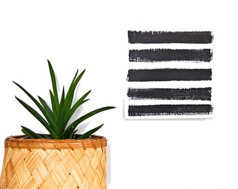 brush strokes art - black and white stripes painting - minimal abstract art - tiny art - 6 x 6 - mini art