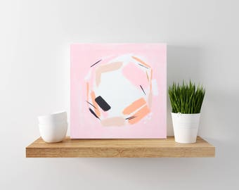 Pink Abstract Painting - Tiny Painting - Modern Minimal Art - Wood Canvas - Abstract Art