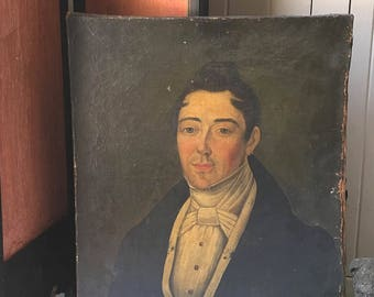 RESERVED // 1800s French oil on canvas, 19th century French portrait on canvas ~ male portrait