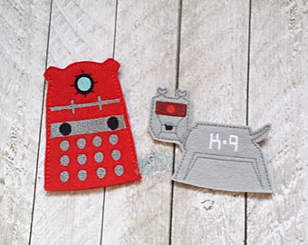 Doctor Inspired Robot Finger Puppets, Bad Machine, Kay Nine, Canine, Quiet Toy, Travel Toy, Pretend Play