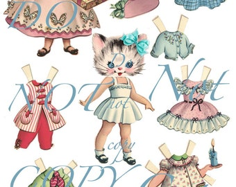 Betsy the Kitty Cat Kitten Paper Doll 7 Outfits Paperdoll Retro Vintage Dresses Clothing ADORABLE Kitschy Kitsch Gift Sweet Vintage