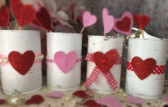 Valentines day decor white painted small tin cans