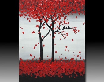 "Small size Original red abstract Textured Acrylic painting on canvas :"" Trees and birds002 """