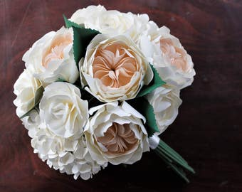 Paper Bridal or Bridesmaid Bouquet - Cottage Roses, Juliet Roses, Ranunculus, Hydrangea - Blush, Ivory