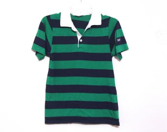 Vintage 80s striped polo rugby shirt levis green navy blue