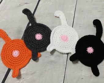 Cat butt Coasters - Crochet cat butt coasters - set of 4