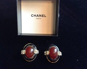 Fabulous Chanel Cabochon gripoix earrings.