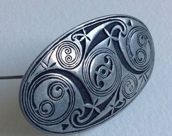St. Justin Celtic Brooch / Shawl Pin - Pewter Vintage Jewellery - Cornwall - Gifts for Her