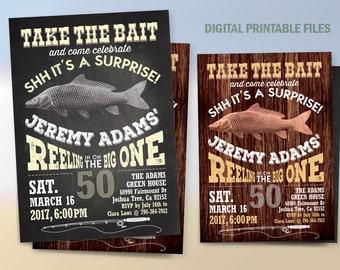 Fishing Birthday Invitation, Fishing Birthday Party, Fishing Birthday Announcement, Printable