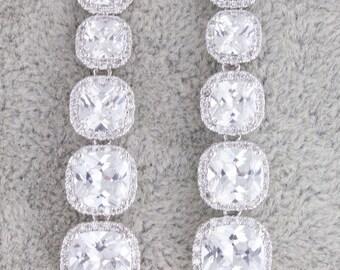 Statement earrings,long bridal earrings,square earrings,cubic zirconia earrings,wedding earrings,bridal earrings,wedding jewelry,bridal