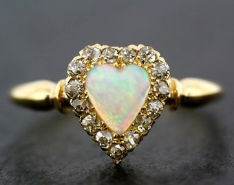 Antique Opal Ring - Victorian Opal & Diamond Heart Ring - Antique Engagement Ring