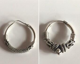 Vintage Pair of Sterling Hoop Earrings - Choose 1 style - Qty 1 Pair