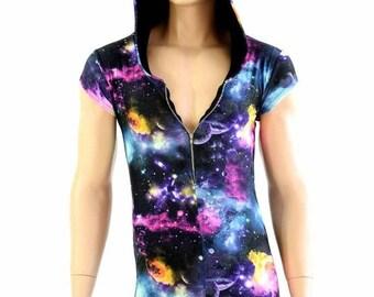 Mens UV Glow Galaxy Zipper Front Cap Sleeve Hoodie Romper w/Black Zen Hood Liner Festival Rave Party Animal - 154478