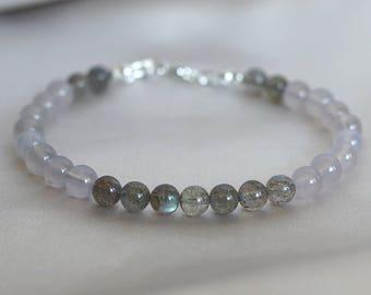 Labradorite bracelet, Chalcedony bracelet, multi gemstone bracelet, labradorite jewelry gift, chalcedony jewelry, Spring earthy bracelet