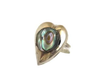 Mexico Sterling Silver Abalone Ring, Vintage Heart Shaped Ring, Size 4