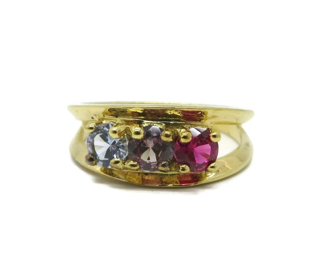 Sterling 925 Multi-Stone Ring, Vintage Gold Plated Faux Topaz Ring, Size 6.5