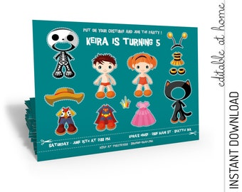 Costume Party Invitation, Costume Party Birthday Invitation, INSTANT DOWNLOAD you personalize at home