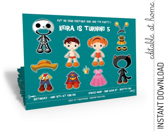 Costume Party Invitation INSTANT DOWNLOAD