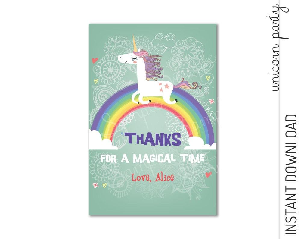 unicorn thank you card unicorn thank you note instant