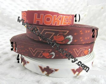 3 yards Virginia Tech Hokies - 5/8 INCH, 7/8 inch  or 1 inch - Printed Grosgrain Ribbon