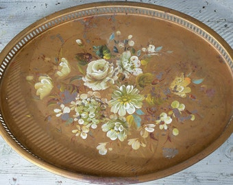 Tole Painted Tray Large Shabby Tray
