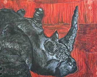 Rhino, Charcoal, Oil Pastels