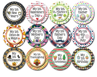 Baby Milestone Stickers Holiday Edition - Baby's First Holiday - Monthly Baby Stickers Boy - Baby's First Stickers HolidaySet 2