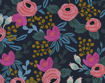 Rosa in Navy (Cotton Linen Canvas Fabric) by Rifle Paper Co. from the Menagerie collection for Cotton and Steel #8012-22 by 1/2