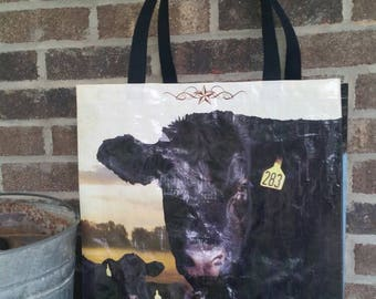 Recycled Feed Bag Tote Bag  (cattle, cow, black angus, upcycled) (cow bag) GROCERY BAG Now with strap handles!
