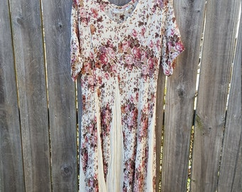 Vintage Floral 90's Maxi Dress Size Small