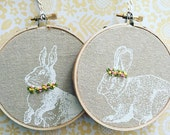 """linen . screen printed bunny . hand embroidered crowns and collars . 4"""" . nursery decor . easter . boho bunny . free spirit . peter rabbit"""