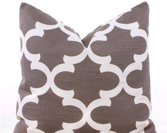 "SALE ENDS SOON Trellis Brown Throw Pillow Cover, Pillows, Lattice, Soft Pillows, Cushion Covers, Toss Pillow, 18 x 18"""