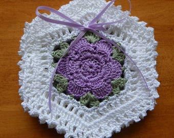 Lavender Rose Crochet 4 pc Coaster Set