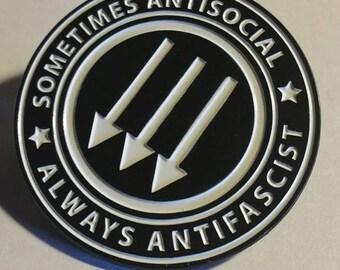 Sometimes Antisocial Always Antifascist Enamel Metal Pin punk antifa hardcore occult