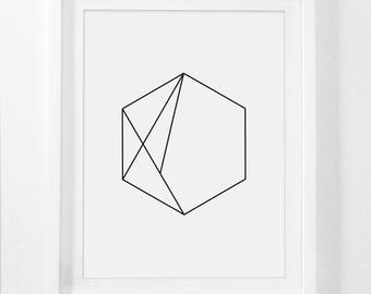 Hexagon Art, Minimal Geometric Print, Simple Wall Art, Hexagon Print, Geometric Wall Art, Modernist Home Decor, Printables Geometric