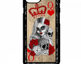 Queen of hearts playing card sugar skull girl tattoo skull graphic art cover for iphone 4 4s 5 5s 5c 6 6s 7 plus SE phone case