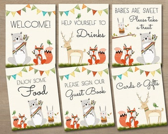 Woodland Baby Shower Decor, Printable Baby Shower Table Signs Bundle, Shower  Signs Package,